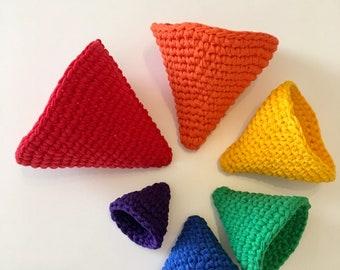 roygbiv montessori inspired nestings cones made from upcycled t-shirt yarn