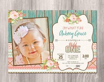 Wild one Birthday Invitation, tribal birthday invitation, boho birthday invitation, girl 1st birthday, first birthday, Printable Invitation