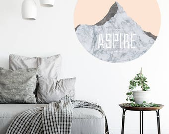 Aspire - Mount Aspiring, New Zealand. Geometric Walldot art decal (15cm x 15cm or 40cm x 40cm)