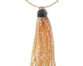 Sparkling Champagne Pewter Beaded Tassel Statement Necklace
