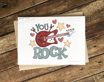 You ROCK, Valentine's Day Card, Greeting Card- (CARD-YouRock4)