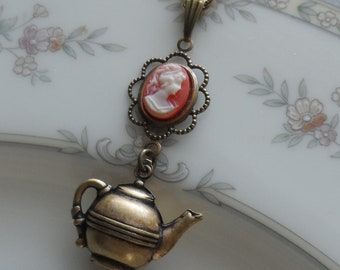 50% Off, Time for Tea, Cameo and Teapot Necklace- Brass Ox