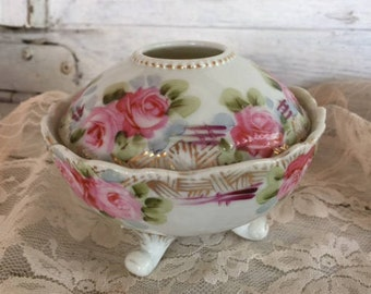Vintage Hair Receiver, Porcelain China with Cabbage Roses, Vanity Accessories, Dresser Dish, Cottage Farmhouse Decor