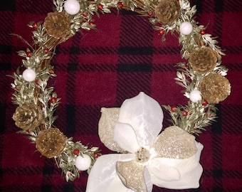 "Glitter Magnolia and Pinecone Wreath/12""/Modern Home Decor/Indoor Wreath"