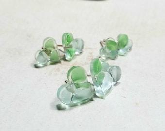 Sea Glass Heart Studs, Aqua Green Beach Glass Studs, Tiny Sea Glass Resin Earrings: Ready Made