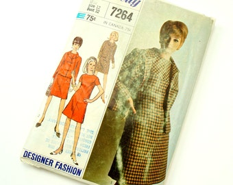 """Vintage 1960s Womens Size 12 Shift Dress and Jacket Simplicity #7264 Sewing Pattern Complete, bust 32 waist 25"""""""