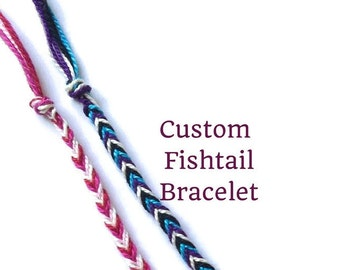 String Bracelet, Friendship Bracelet, Custom Fishtail Bracelet, Braided Bracelet, Woven Bracelet, Thread Bracelet, Best Friend Bracelet