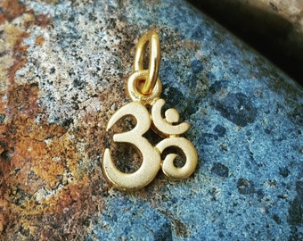 Tiny Gold Om Charm - VERY SMALL - Gold Om Necklace - 24K Vermeil - Optional Custom Length Gold Filled Chain - Yoga Jewelry