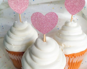 Pink Glitter Heart Cupcake Toppers • Food Picks • Birthday • Baby Shower • Bridal Shower • Engagement • Wedding