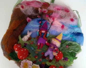 Spring Garland, carded wool with gnomes and Bunny, inspired by Waldorf pedagogy