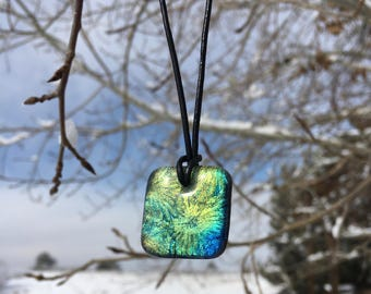 Beautiful Green, golden and blue rectangle fused glass pendant