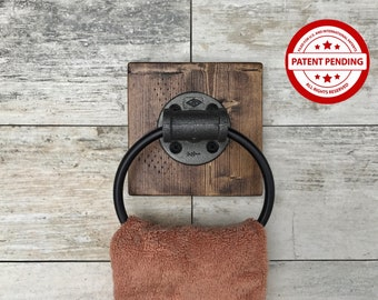 Decorative Wall Pipe Towel Ring, Industrial, Rustic, Bathroom, Kitchen Towel Holder, Farmhouse, Gift(PATENT PENDING)