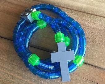 Rosary made of Lego Bricks - Translucent Blue, Translucent Lime & Dark Gray Catholic Rosary