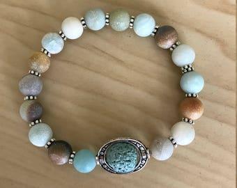 Essential oil diffuser Bracelet - Amazonite - Aromatherapy Lava Rock Bracelet - Jewelry Diffuser