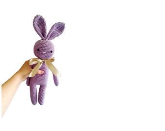Crochet bunny - stuffed animal - large bunny - gray bunny - easter bunny - handmade - plush - cotton - amigurumi - rabbit doll