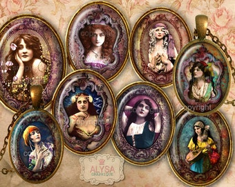 VINTAGE GYPSY Oval 30x40 mm  Images Digital Collage Sheet + 2 FREE Gift Tags Instant Download, pendants, cabochons, magnets, scrapbooking