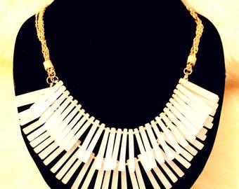 Two-Layer Quartz Fringe Bib Necklace