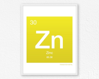 30 Zinc, Periodic Table Element | Periodic Table of Elements, Science Wall Art, Science Poster, Science Print, Science Gift