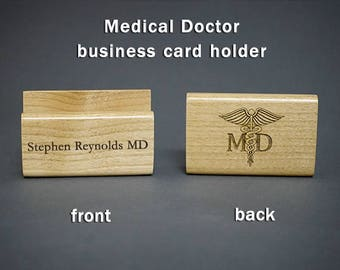 Medical Doctor MD Personalized Wood Business Card Holder Physician