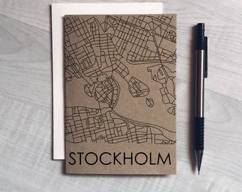 Stockholm city map card, scandinavian style, christmas card, greeting card, birthday, modern, minimalist, unisex, card for him, card for her