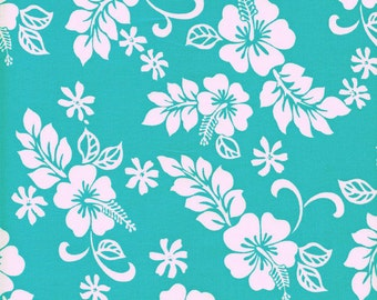 Hawaiian Hibiscus Flowers Cotton Fabric Trans-Pacific TKJ-02-206 Turquoise, By the Yard