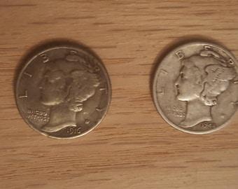 1916 D Mercury Dime 90% Silver Replica Silver Coin Copy US 10 Cent Silver Mercury Head Dime Copy Coins