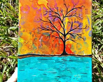 Fall tree  original acrylic painting on canvas art
