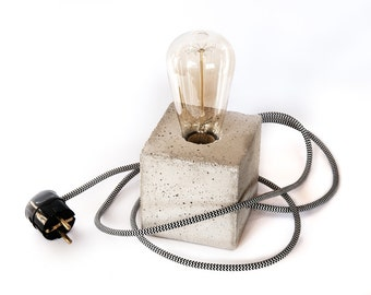 Concrete Industrial Lamp - The Cube - Lighting - Concrete table lamp with textile cable and vintage Edison bulb