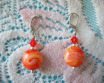 Orange Bead Lever Back Dangle Earrings, silver tone, swirled color, 2 beads, crystal, faceted, round, smooth texture, Mothers Day, for her