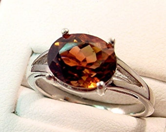 AAAA Tourmaline   10x8mm  2.95 Carats   VIVID Bronze Dravite 14K gold ring  0111