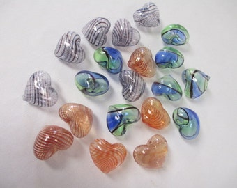 20 BLOWN GLASS HOLLOW Heart Beads 25 mm - Assorted Colors
