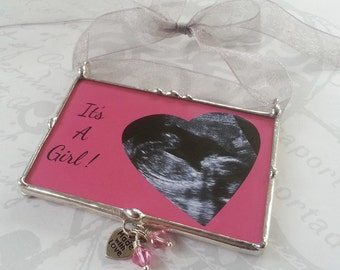 Personalized Christmas Ornament, Photo Ornament, Baby Announcement, Ultrasound Picture, Gender Reveal, It's a Girl or Boy, Mother's Day Gift