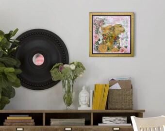Original animal artwork | pink | camel art | gold home decor | mixed media collage | wall decor | animal artwork | garden