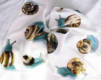 "Silk scarf ""Snails after the rain"""