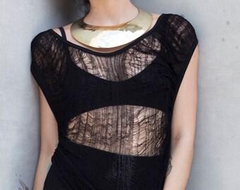 Black Top - Shredded Top - Black Deconstructed Top - Black Shredded Top