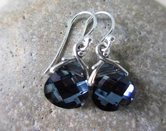 Dark Blue Silver Earrings, Swarovski Crystals, Navy Blue, Montana Blue, Blue Earrings, Irisjewelrydesign