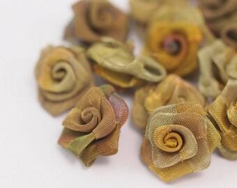 Brass Rose Charm, 5 Raw Brass Wire Mesh Folded Rose Sculpture 20mm D020--c044