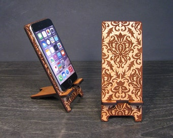 Wooden Phone Stand Wood Docking Station 5 Size- iPhone 6, iPhone 6 Plus, iPhone 5, iPhone 4, Samsung Galaxy - Boho Chic Desk Accessories