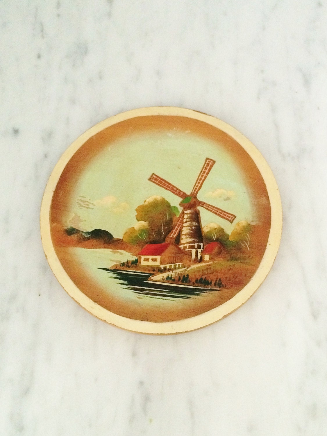 Windmill Decor Wooden Windmill Plate Dutch Windmill Art