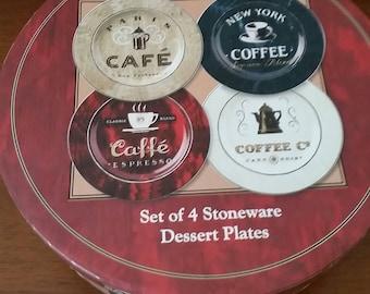 Sakura Coffee Break Dessert/Salad Plates Set of 4, Dessert Plates, Salad Plates, Cafe Plates, Plates.