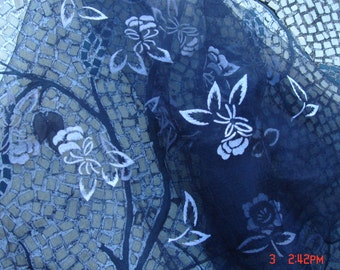 Vintage Sheer Chiffon Black Square Scarf with White Flowers - Beautiful