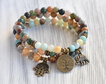 Set 3 Mala Bracelet Yoga Mala Beads bracelet Yoga Jewelry Natural stone bracelet 6mm Tree of life, Elephant, Hamsa Bracelet