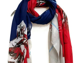 Large Sketched Red Flower Blue Grey  Scarf /Spring Summer Scarf /Autumn Scarf /Accessories /Gifts For Mother /Gifts For Her /Christmas Gifts