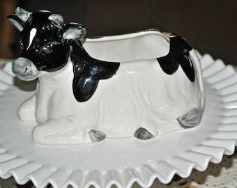 Vintage OTAGIRI Holstein Black and White Cow Planter