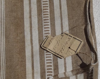Vintage French 1930's Mixed Stripe Brown Buff Ecru Linen Ticking Fabric Piece