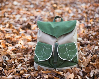 Cute Backpack for nature lovers, Waterproof Hiking backpack with Leaf Motif