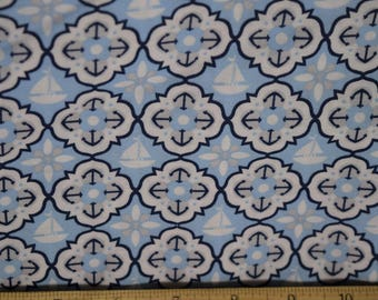 Light Blue Fabric Nautical Fabric with Sailboats from Keepsake Calico