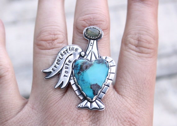 Kingman Turquoise Potion Bottle With Labradorite Topper Love Drunk Collection