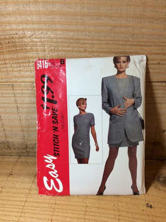 McCalls 6415, vintage McCalls pattern, misses unlined jacket and dress, uncut sewing pattern 1993, 2.50 US shipping, sew your own suit