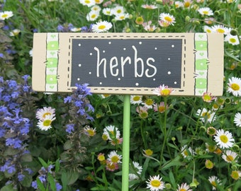 Herbs Garden Sign, Herb Stake, Painted Vegetable label, Handpainted